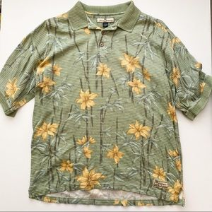 Tommy Bahama silk blend floral pattern polo
